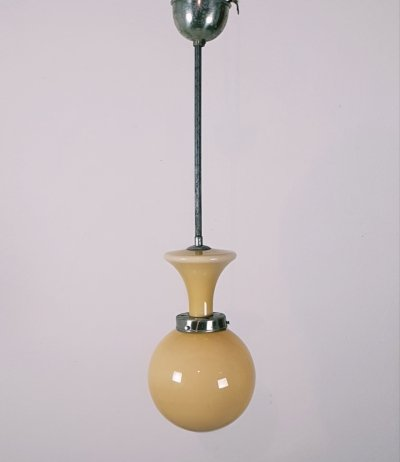 Cream opaline Art Deco ball pendant light, 1930s