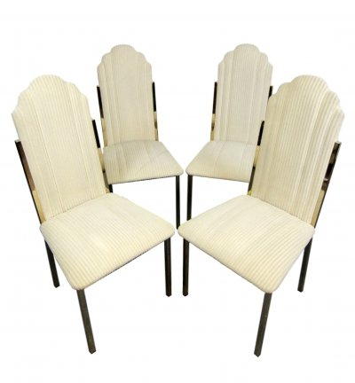 Original fabric Dining Chairs by Alain Delon for Maison Jansen, signed with label