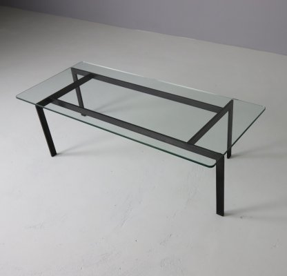 Asymmetric wrought iron & glass coffee table, 1960s
