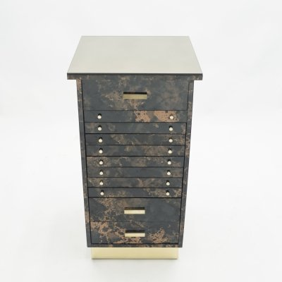 French Guy Lefevre dresser cabinet in lacquer & brass drawers, 1970s