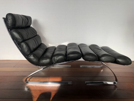 Vintage black leather COR Sinus lounge chair & ottoman by Hans Jürgen Schröpfer & Reinhold Adolf, 1970s