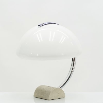 Italian Elio Martinelli Serpente chrome travertine table lamp, 1960s