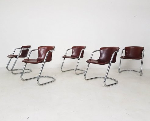 Set of 5 Willy Rizzo for Cidue dining chairs, Italy 1970's