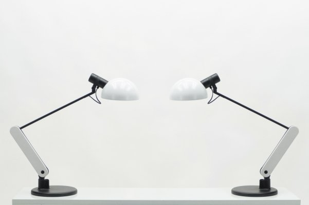 Rare pair of Italian Harvey Guzzini table / desk lamps, 1970s