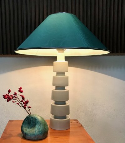 Sculptural Glazed Ceramic Table Lamp with Silk Shade, Germany 1960s