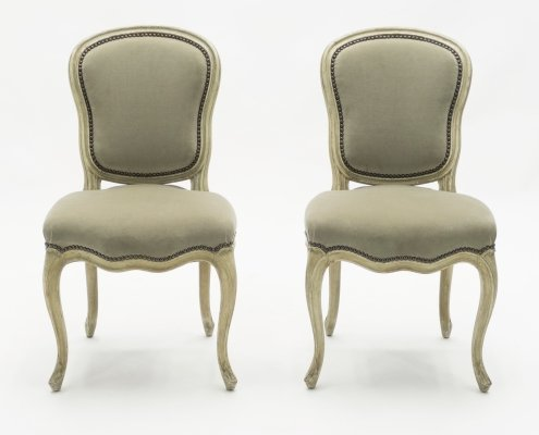 Rare pair of stamped Maison Jansen Louis XV neoclassical chairs, 1940s