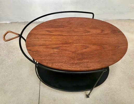 German Minimalist Oval Teak & Steel Wire Serving Trolley by Ilse Möbel, 1960s