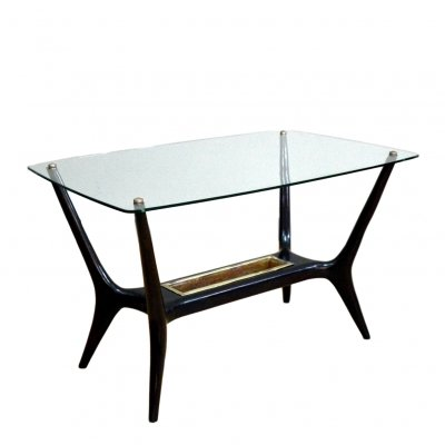 Wood & glass Italian Coffee Table, 1950s