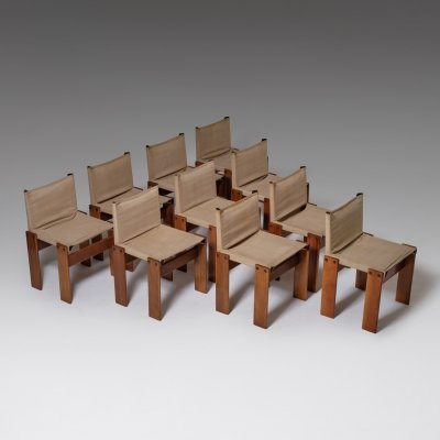 Set of 10 Canvas 'Monk' chairs by Afra & Tobia Scarpa for Molteni, 1970s