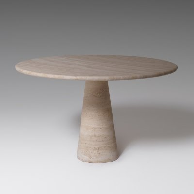 Angelo Mangiarotti Travertine Dining table for Skipper, Italy 1970's