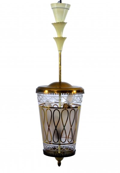 Italian Glass & Brass Ceiling Lamp, 1940s