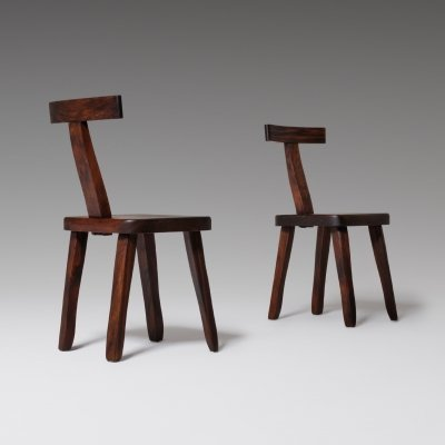 Olavi Hänninen side chairs in stained Elm, 1950s