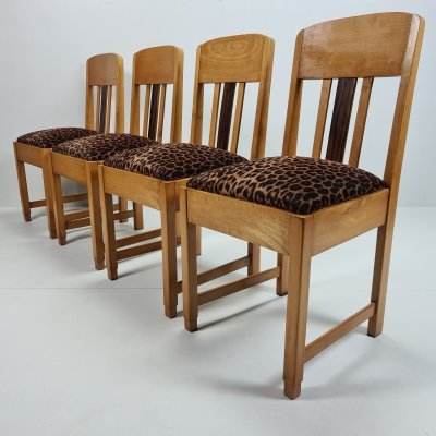 Set of 4 Oak Art Deco Amsterdamse School dining chairs, 1920s
