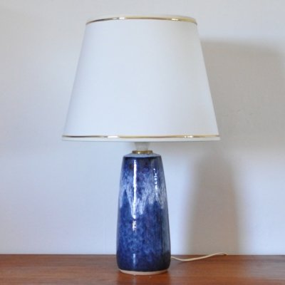 Blue & white glazed Ceramic Table lamp from Valholm, Denmark 1960s
