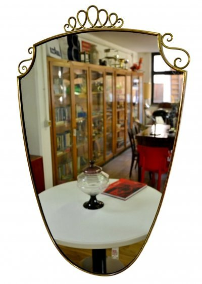 Vintage italian Shield Mirror with Brass Frame, 1950s