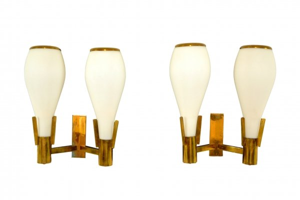 Pair of Mid-Century Glass & Brass Wall Lights, 1950s