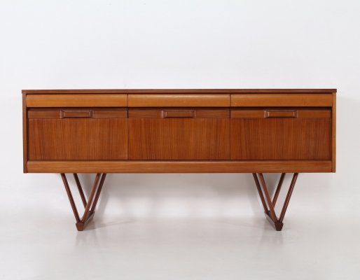 Scandinavian style teak sideboard with 6 drawers, 1960's