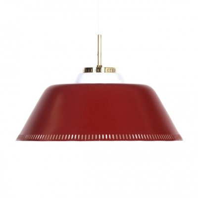Red Danish Hanging Lamp by Bent Karlby for Lyfa, 1960s