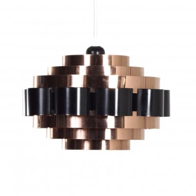 Copper Pendant by Werner Schou for Coronell Elektro, Denmark 1970s