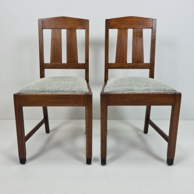 Pair of Oak Art Deco Amsterdamse School dining chairs, 1920s