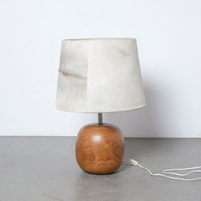 Cowhide lamp with spherical wood base, 1980s
