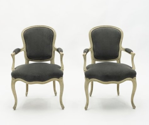 Rare pair of stamped Maison Jansen Louis XV neoclassical armchairs, 1940s