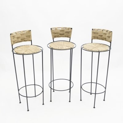 Set of 3 french bar stools in rope & metal by Adrien Audoux & Frida Minet, 1950s