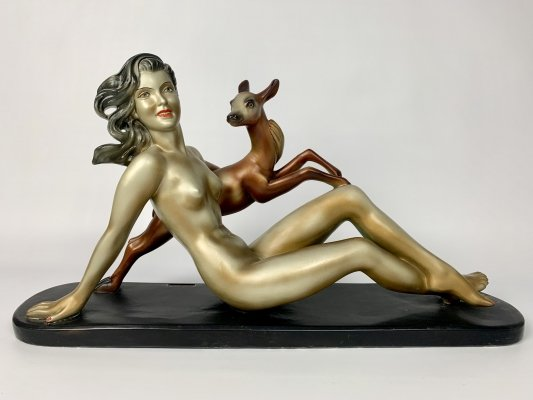 Art deco Art piece of a naked lady with deer, France 1930's