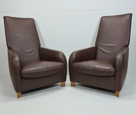Pair Italian tan leather lounge chairs with high backrests by Molinari, 1990s