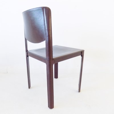 Matteo Grassi saddle leather dining chair by Tito Agnoli, 1970s
