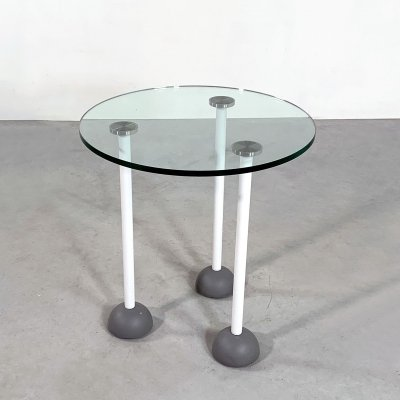 Glass Memphis Style Side Table with Wheels, 1980s