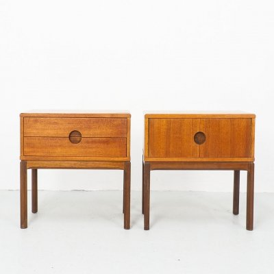 Pair of Model 384 Nightstands by Kai Kristiansen for Aksel Kjersgaard, 1950s