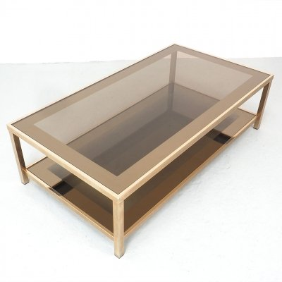 Large Gold-Plated Coffee Table from Belgo Chrom / Dewulf Selection, 1970s