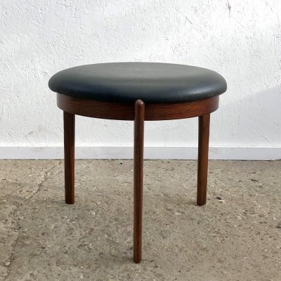 Danish rosewood & leather stool, 1960s