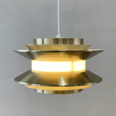Swedish light brass colored hanging lamp by Carl Thore for Granhaga, 1960s