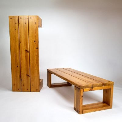 Pair of Heavy Pine Benches, Sweden 1960s