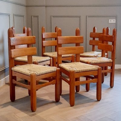 Set of 6 Oak & Rush Brutalist Chairs, 1960s