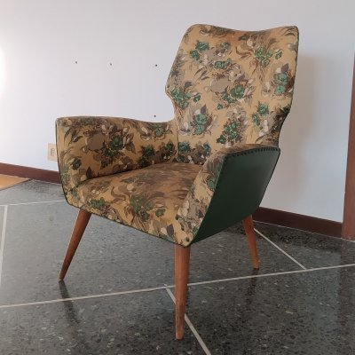 Italian Mid-Century Armchair with Floral Upholstery, 1950s