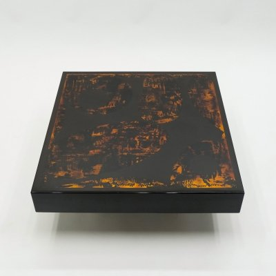 J.C. Mahey black orange lacquer & leather coffee table, 1970s