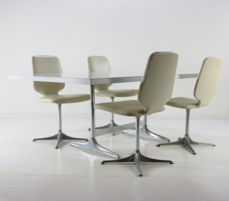 Horst Brüning 'Sedia' dining set with polished aluminium base, 1970s