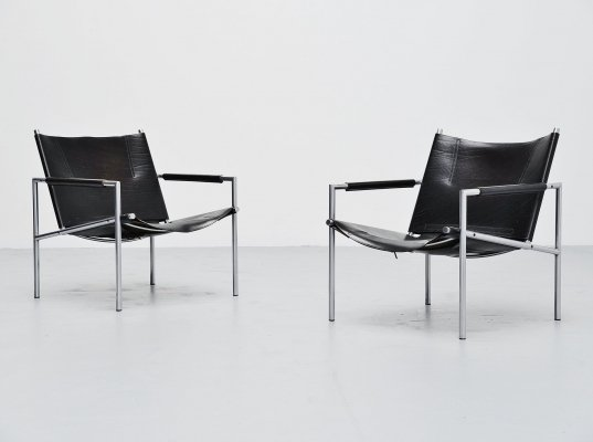 Martin Visser SZ01 easy chairs in black by 't Spectrum, 1965