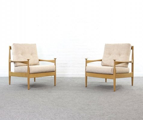 Pair of mid-century Scandinavian beechwood lounge chairs, 1960s