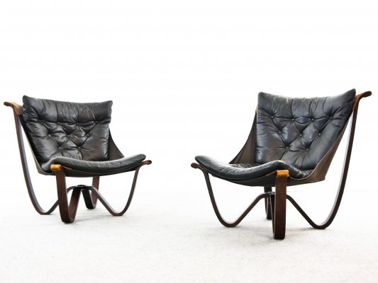 Pair of Georg Otto Thams Easy Chairs in black Leather by A/S Vejen, Denmark