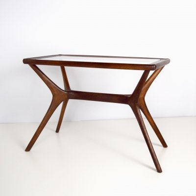 Midcentury Modern Coffee Table in Massive Wood & Glass, Italy 1950s