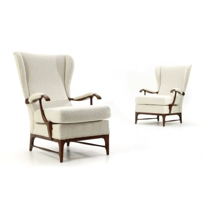 Pair of armchairs in ivory white fabric by Framar, 1950s
