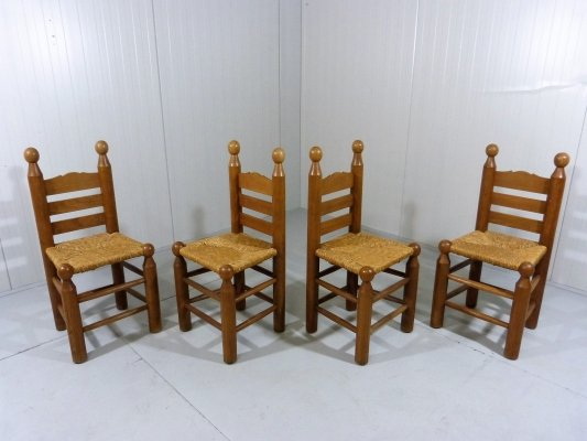 Set of 4 brutalist solid oak chairs, 1960's
