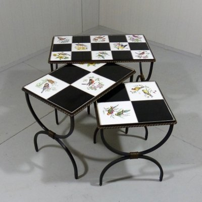 Nesting side tables with bird tiles, 1950-60's