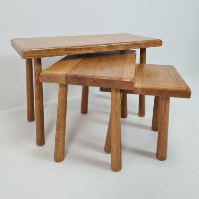 Mid-century Dutch oak nesting tables with round tapered legs, 1960s