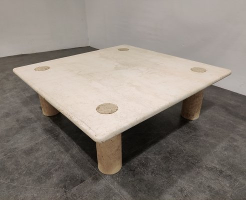 Angelo Mangiarotti Travertine Coffee Table for Up&Up, Italy