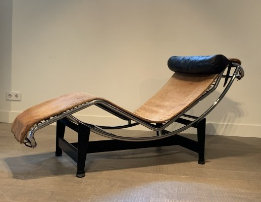 Le Corbusier for Cassina LC4 ponyskin chaise longue lounge chair, 1970s